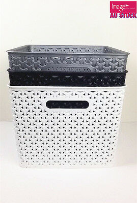 6x Plastic Storage Baskets Organizer Wicker Pattern Motel Restaurant BK0171