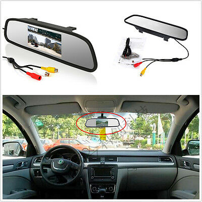 """Car Auto Reverse Parking Rearview Mirror 4.3"""" Color Digital LCD Display Monitor"""