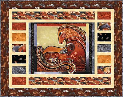 EMBRACING HORSES Brick Quilt Wallhanging Kit ~ Laurel Burch Fabric + Pattern