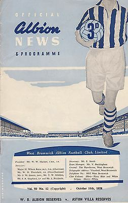 WEST BROMWICH ALBION v ASTON VILLA RESERVES ~ 11 OCTOBER 1958 ~ GOOD CONDITION
