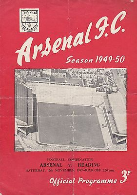 ARSENAL v READING RESERVES ~ FOOTBALL COMBINATION ~ 12 NOVEMBER 1949