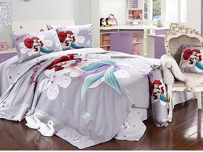 New 2015 Disney Little Mermaid Bedding Set 4pc Queen Bed Cotton RARE