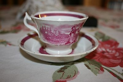 """Antique Pearlware Staffordshire Child's Tea cup & saucer """"The Cottage Girl"""" pink"""