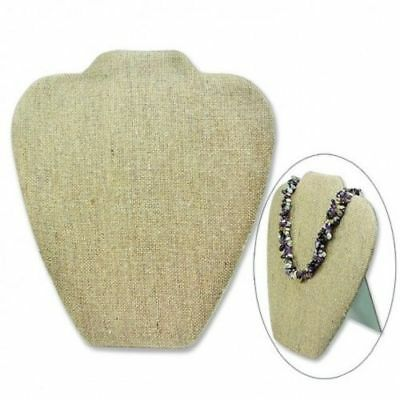 Deluxe Necklace Display with Easel Made from Premium Burlap - 1 Piece