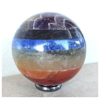 SEVEN CHAKRA BONDED SPHERE Semi Precious Gemstone CRYSTAL HEALING Gift + Stand