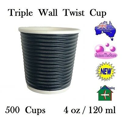 Triple Wall Twist Paper Cup 4oz 120ml Coffee Tea 500 Cup Black Hot & Cold Drink