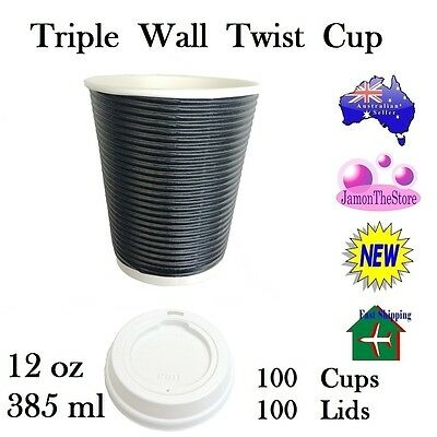 Triple Wall Twist Paper Cup 12oz 385ml Coffee 100 Cup Black + 100 Lid Hot&Cold
