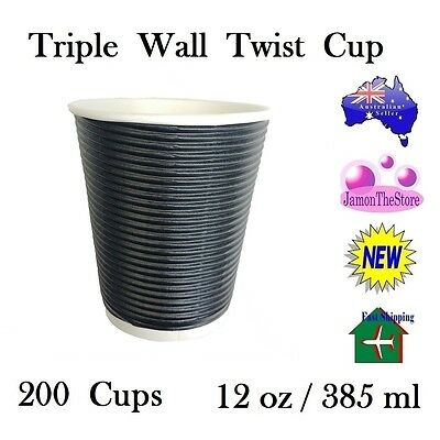 Triple Wall Twist Paper Cup 12oz 385ml Coffee Tea 200 Cup Black Hot & Cold Drink