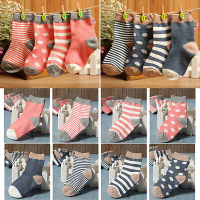 Set of 4 Pairs Lovely Baby Toddler Boys Girls Fall Winter Cotton Socks 1-3Y Gift