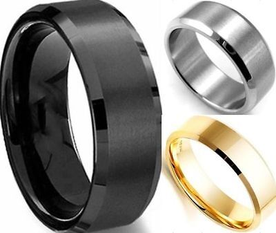 8MM Fashion Titanium Men Women Stainless Steel Band Brushed Wedding Ring Gift