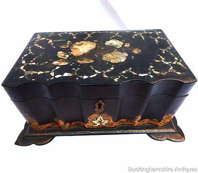 Antique English Victorian Black Papier Mache Mother Of Pearl Inlaid Tea Caddy