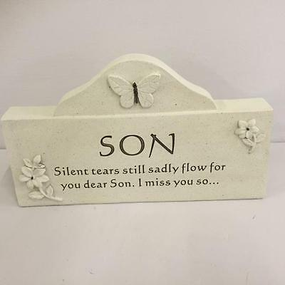 New SON Memorial  Plaque Grave Garden Tribute Stone Funeral Remembrance Home