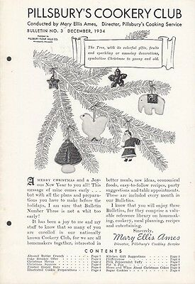 Pillsbury's Cookery Club Bulletin No. 3 December 1934 Christmas Cookies Recipes