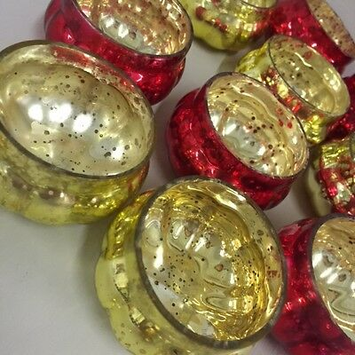 NEW Set 6 RED & GOLD Mercury Glass Pumpkin Tea Light Holders Christmas Weddings