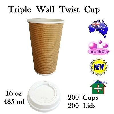 Triple Wall Twist Paper Cup 16oz 485ml Coffee 200 Cup Brown + 200 Lid Hot & Cold