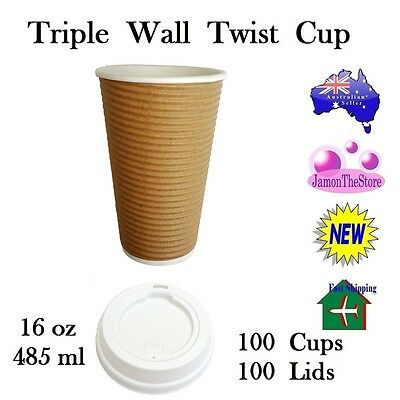 Triple Wall Twist Paper Cup 16oz 485ml Coffee 100 Cup Brown + 100 Lid Hot & Cold