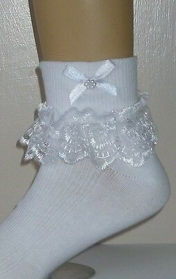 Girls White Frilly Lace Socks Size Lots Of Sizes White Bows