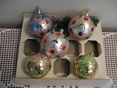 Vintage Christmas ornaments,lot of 5, glass,made in Poland