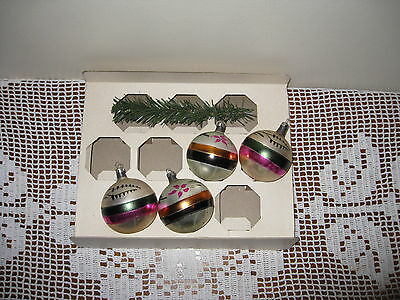 Vintage Christmas ornaments,lot of 4, glass, made in Poland