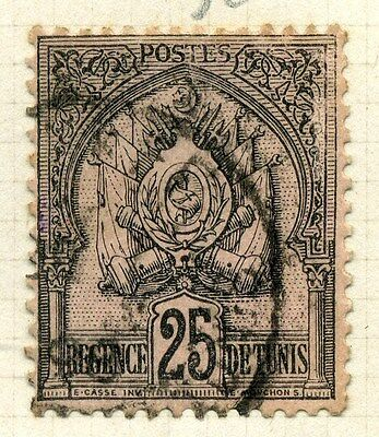 FRENCH COLONIES TUNISIA;  1888 classic 2nd issue fine used  25c.