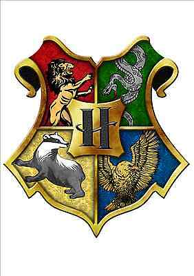 IRON ON TRANSFER - HOGWARTS CREST - HARRY POTTER 15X14cm FOR ANY COLOUR TOP