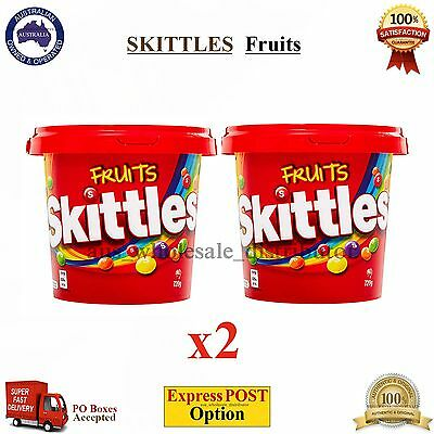 x2 Skittles Fruits Original 820g Bucket Tub Party Fruity Flavour Lollies Candies