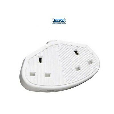 13 Amp 2 Gang Rubber Trailing Extension Socket White Heavy Duty 8828RW