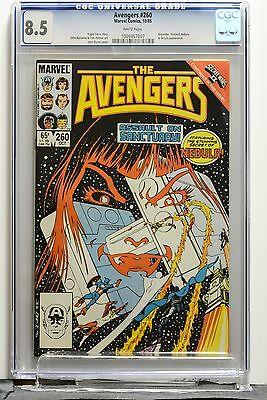 The Avengers # 260 CGC 8.5 VF+ White Pages Marvel Secret Wars 2 Tie In