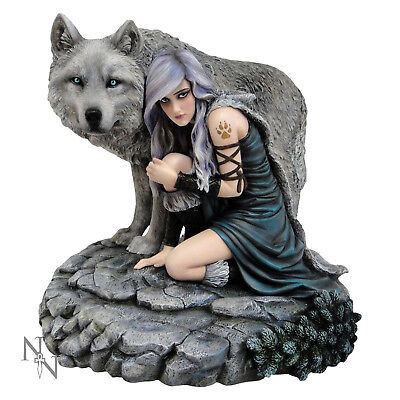 The Protector Figurine - By Anne Stokes Limited Edition Goth Fantasy Wolf Statue