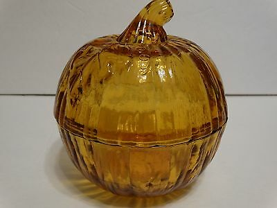 Halloween Pumpkin Candy Cookie Jar With Lid Amber Glass fall decor
