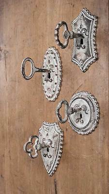 Set of 4 Different Replica Vintage Key Metal Hooks Rustic Antique White Decor
