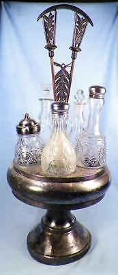 Victorian Silver Plate Castor Set 6 Varied Glass Cruets Antique James Tufts 2930