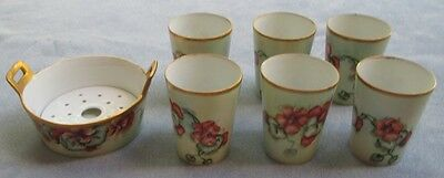 Hand Painted Bowl and 6 Tumblers Nasturtiums with Heavy Gold T&V Limoges France