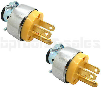 2pc Male Extension Cord Replacement Electrical Plugs 15AMP 125V End