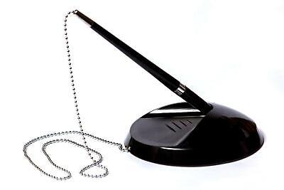 Quality Black, Reception, Pen On Chain With Stand - Bank Desk Shop