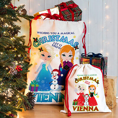 Personalised Christmas Frozen Xmas Style Anna Elsa Santa Sack Gift Stocking Bag