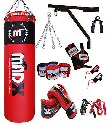 MADX 13 Piece 5ft Boxing Set Filled Heavy Punch Bag Gloves,Chain,Bracket,Kickbag