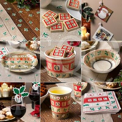 Christmas Party Tableware, Plates,Bowls,Cups,Napkins,Confetti,Table Decorations