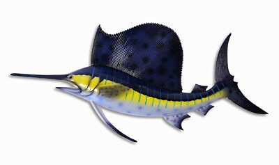 "Hand Painted Jumbo 48"" Florida Striped Blue Sailfish Wall Mount Decor Sculpture"