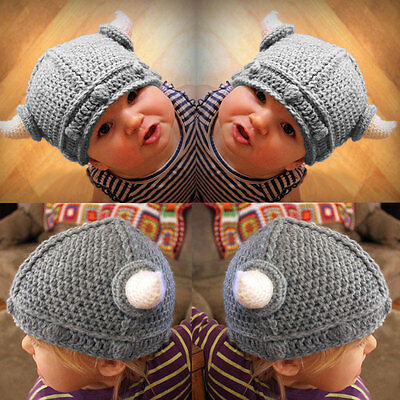 Toddler Baby Newborn Winter Horn Warm Crochet Kid Knit Hat Cap Beanie