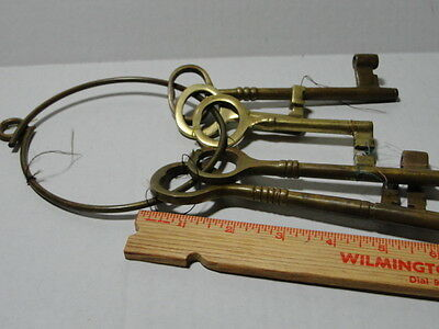 Vintage Skeleton Keys Brass Set Of 5 Big Keys