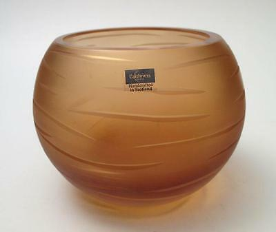 Caithness Scotland Rough Cuts Gold Art Glass Votive Candle Holder  With Label