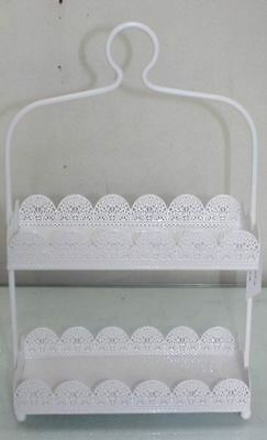 Rectangle White Laser Cut Metal 2 Tier Cake Stand