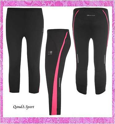 Girls Black Gym Cycling Running Capri 3/4 Compression Skins Tights - Karrimor