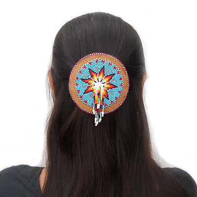 Beaded Barrette Hair Clip Accessories Turquoise Blue Fire Pattern Medallion 47/6
