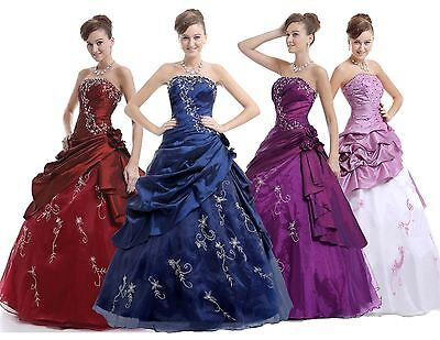 Long Prom Party Ball Gown Formal Wedding Bridesmaid Evening Dress Size 6-16