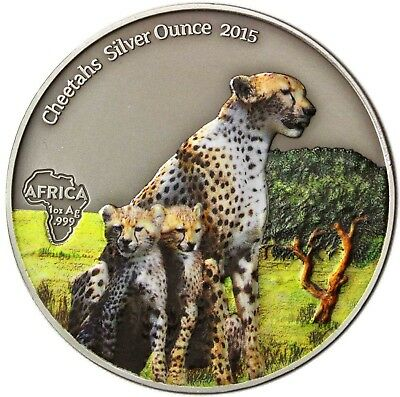 Gabon 1000 Francs 2015 CHEETAHS SILVER OUNCE antique finish Coloured Coin
