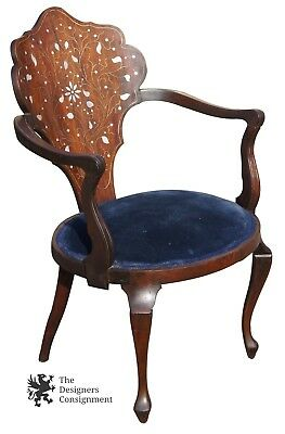 Antique Occasional Mahogany Arm Chair Mother of Pearl Inlay & Velvet Seat Accent