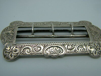 Antique Victorian Sterling Silver Belt Buckle, Adie & Lovekin Birmingham 1898