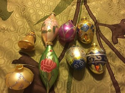 Vintage Hand Painted Christmas Ornaments Lot Of 8